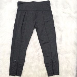 [Lululemon] gray crop leggings with ankle zippers
